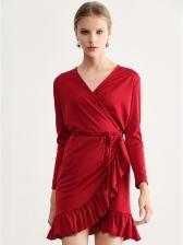 Sexy V Neck Flounced Hem Red Wrap Dress