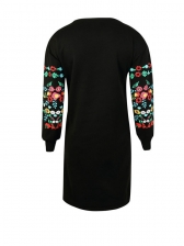 Characteristic Embroidery Crew Neck Black Dresses