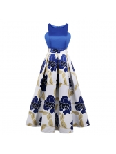 Hot Sale Patchwork Printed Fitted Elegant Women Dress