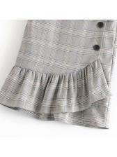 Hot Sale Plaid Flounce Button Lady Midi Skirt