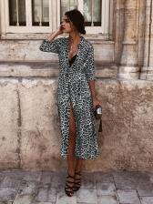 Hot Sale Leopard Print Turndown Neck Causal Dresses