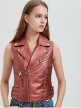 Stylish Zipper Up Spread Neck Sleeveless Coat