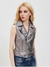 Chic Solid Turndown Neck Pu Sleeveless Lady Coat