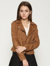 New Arrival Suede Pure Colors Chic Female Jacket