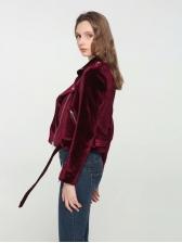 Euro Velvet Zipper Up Fitted Jacket For Female