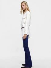 Euro Stand Neck Pocket White Blouse For Women