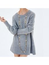 Euro Hot Sale Crew Neck Loose Gray Long Sweater