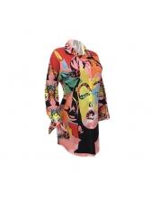 Euro Casual Colorful Printed Blouse Foe Women