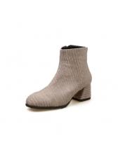 Winter Round Toe Chunky Matching Warm Boots