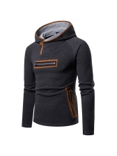 Casual Colorblock Fitted Suede Hoodies For Men