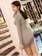 V Neck Knitted Long Sleeve Bodycon Dresses