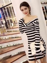Easy Matching Striped V Neck Bodycon Dresses