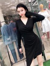 Sexy V Neck Asymmetrical Bodycon Dresses
