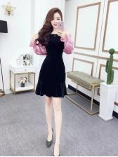 Chic Contrast Color Off The Shoulder Dresses