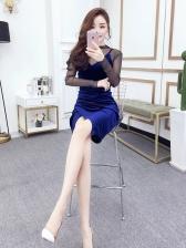Attractive V Neck Velvet Dresses With Gauze Blouses