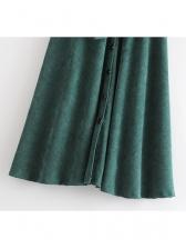 Fashionable Corduroy Binding Bow Single-Breasted Midi Skirt