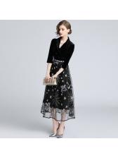 Euro Star Letter Embroidery Patchwork Vintage Dresses