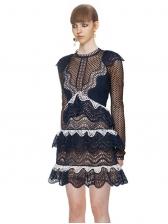 Lace Patchwork Ruffles Tiered Dark Blue Long Sleeve Dress