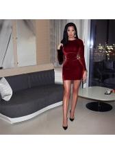 Winter Velvet Round Neck Lace Up Maroon Dresses