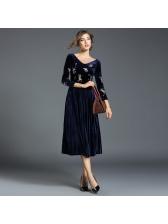 Temperament Embroidery V Neck Velvet Pleated Dresses