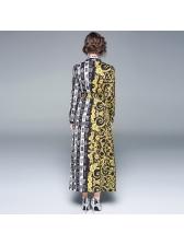 Euro Turndown Neck Colorblock Maxi Dress