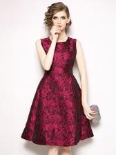 Euro Crew Neck Jacquard Weave Sleeveless Dress