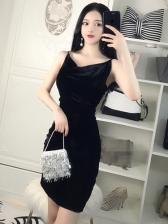 Sexy Backless V Neck Velvet Sleeveless Dress