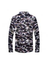 Fashionable Printed Turndown Neck Casual Mens Shirt