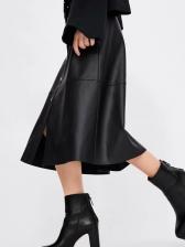 Euro Pu Ruffles Single-Breasted Midi Skirt