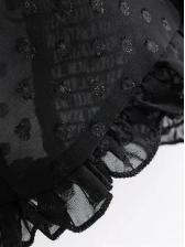 V-Neck Perspective Ruffles Lantern Sleeve Blouse