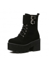 Chic Lace Up Black Platform Boots For Female