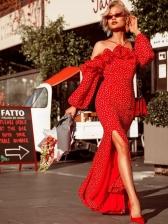 Off The Shoulder Dots Ruffles Split Red Dresses