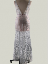 Sequined V Neck Silvery lver Floor Length Dresses