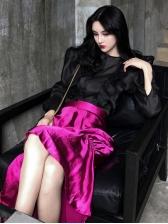 Vintage Style Ruffles Irregular Hem Women Sets