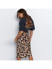 Euro Sexy Leopard Print High Waist Midi Skirt