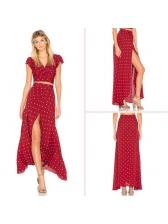 V-Neck Polka Dots Slit Wrap Blouse With Skirt