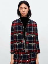 Fashion Plaid Pearls Design Contrast Color Coats