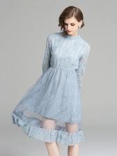 Elegant Lace Patchwork Gauze Long Sleeve Dresses