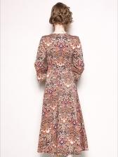 Euro Print V Neck Tie-wrap Flare Sleeve Dresses