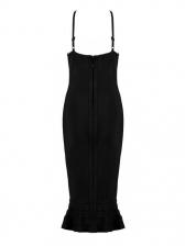 High-End Lace Detail Fishtail Black Party Dress