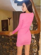 V Neck Knitted Zipper Slit Sexy Dresses