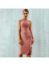 Boutique Solid Fitted Simple Tie Wrap Women Dress