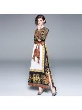 Leopard Printing Binding Bow Split Vintage Dresses
