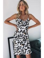 Sexy Spaghetti Strap Leopard Print Dress