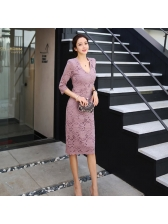 Lace V Neck Fitted Ladies Dress