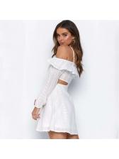 Hollow Out Ruffles White Long Sleeve Mini Dress