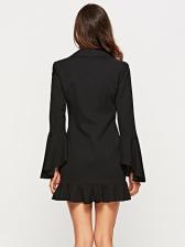 OL Style Ruffles Flare Sleeve Single-breasted Blazer Dress
