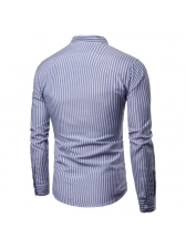 New Arrival Striped Stand Neck Long Sleeves Shirt