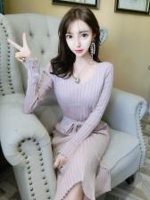 V Neck Binding Bow Slit Knitted Dress