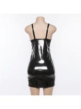 Sexy PU Strap U Neck Bodycon Dress